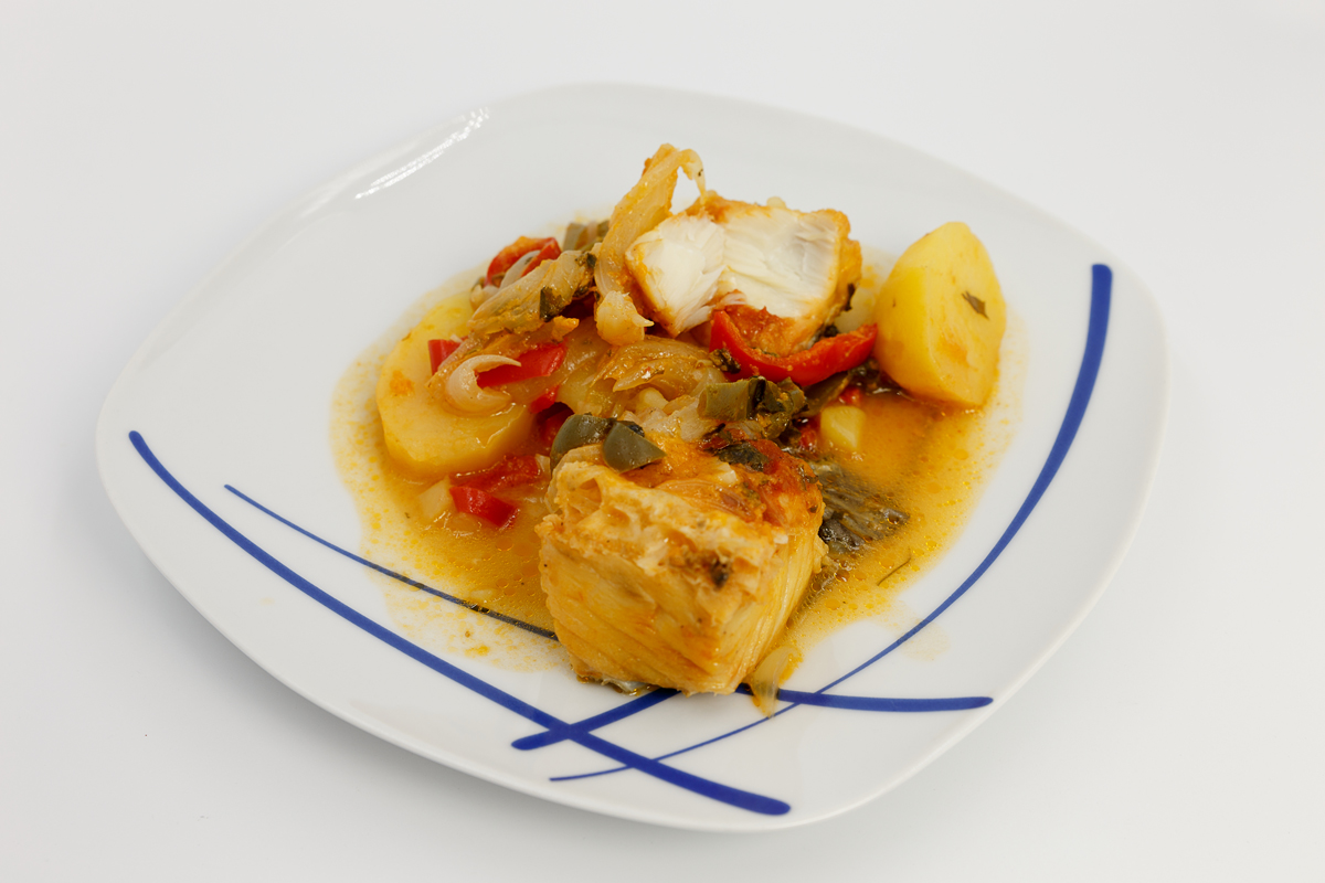 Bacalao, salted codfish with peppers and onions