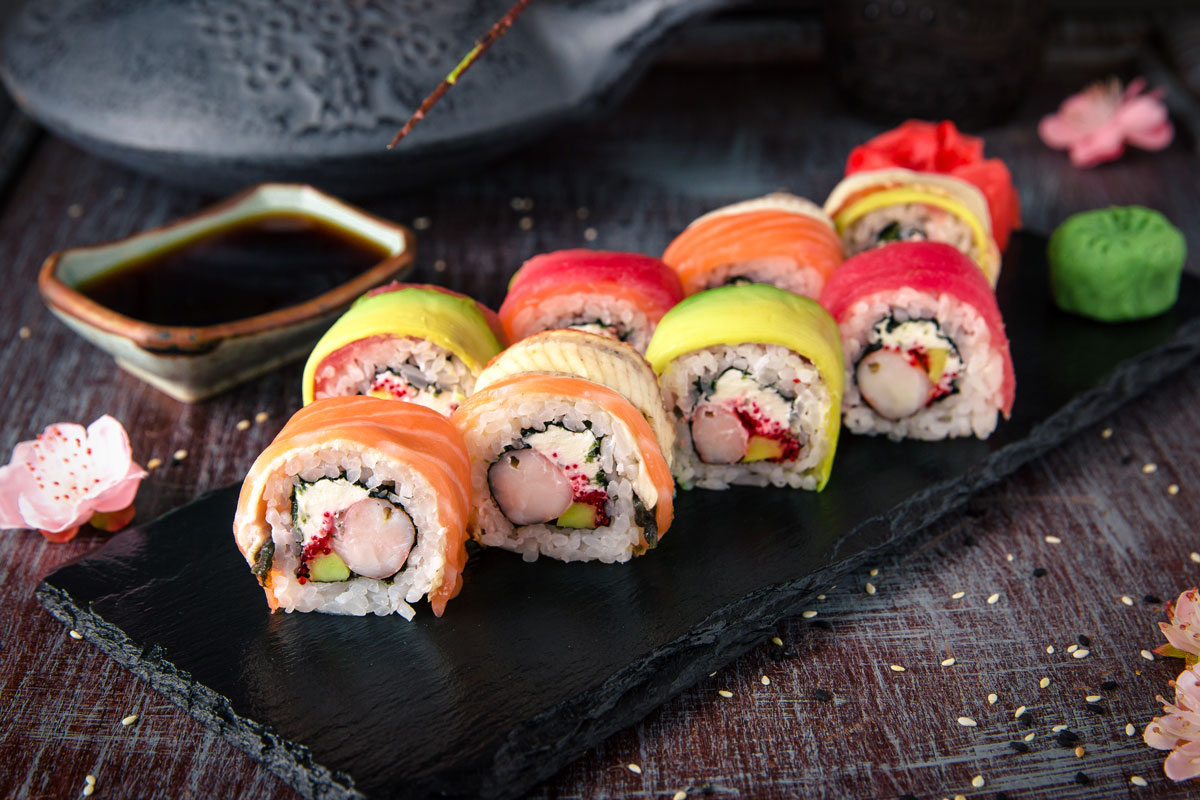 Various colorful sushi rolls