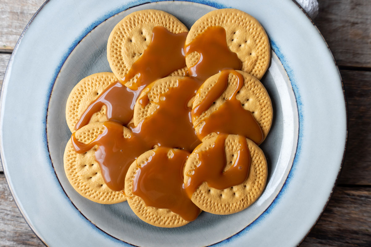 Cajeta Sauce Drizzled on Mexican Maria Cookies
