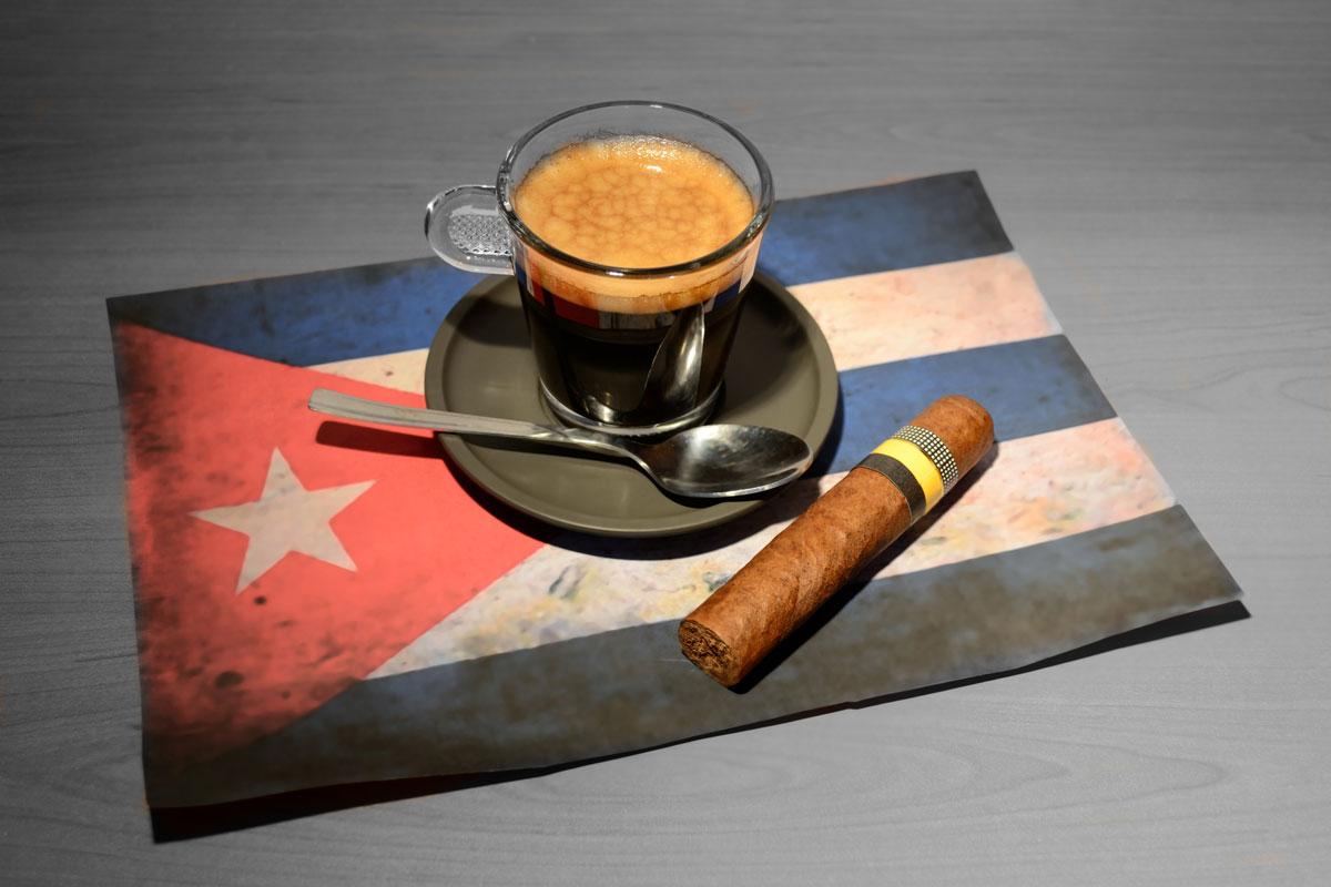 Cuban flag, coffee & cigar